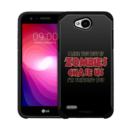 LG Fiesta Hybrid Slim Case - I Like U But If Zombies Chase Us Red on Black
