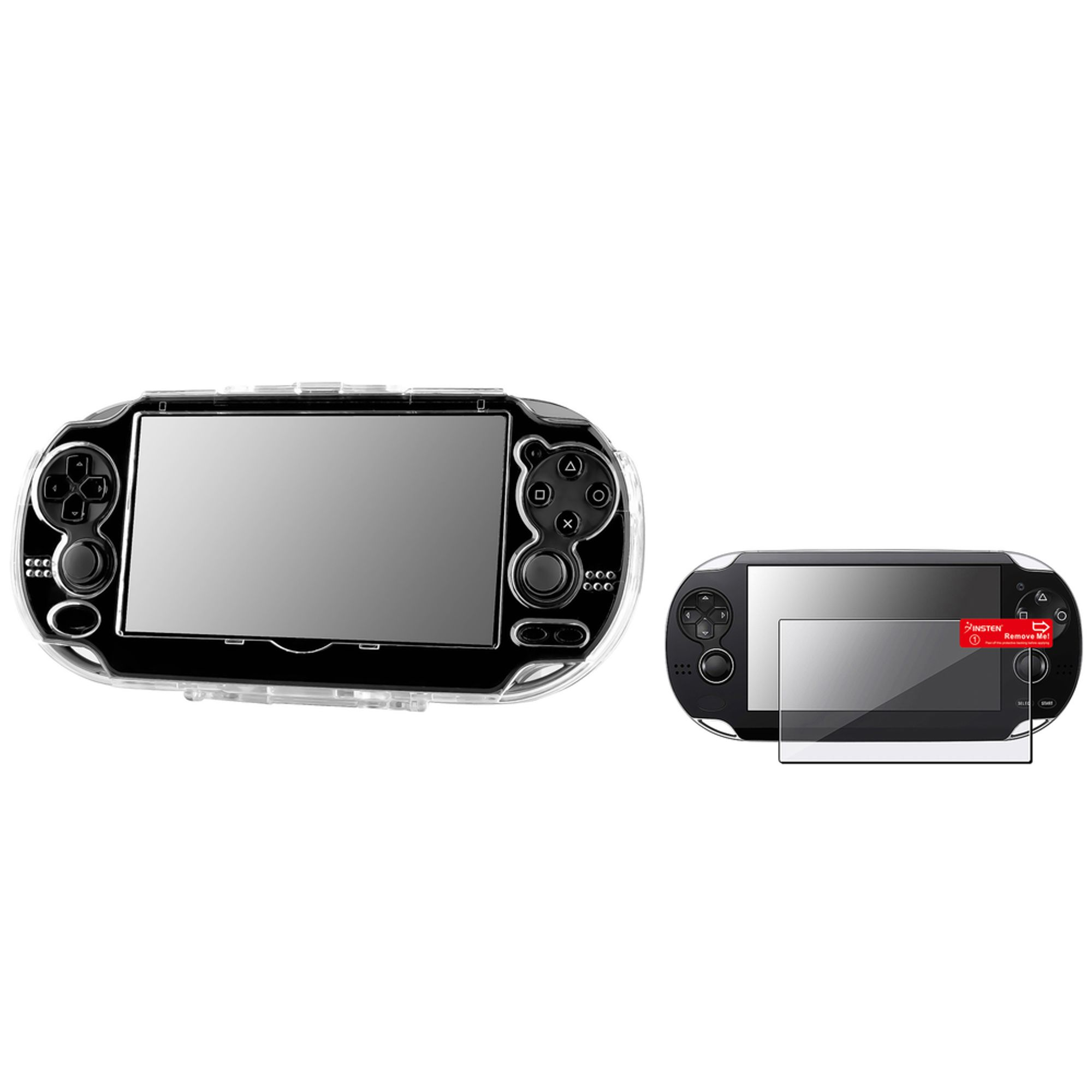 Insten Clear Crystal Hard Skin Case Cover+Reusable Screen Protector for Sony PS Vita
