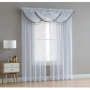 Adeline 5 Piece Sheer Curtain Set with Beaded Austrian Valances and Foil Metallic Design (White/Silver)