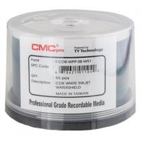 100 CMC Pro Taiyo Yuden 52X CDR (CD-R) 80min 700MB Water Shield White Inkjet Hub Printable