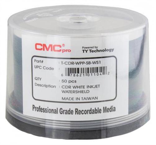 100 CMC Pro Taiyo Yuden 52X CDR (CD-R) 80min 700MB Water Shield White Inkjet Hub Printable