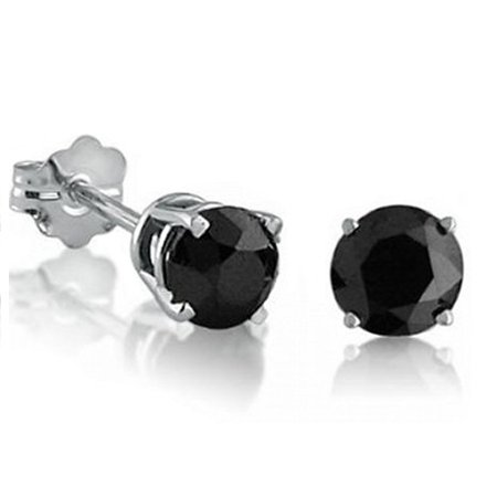 3e20faaaeca8f 1ct tw Black Diamond Stud Earrings set in .925 Sterling Silver
