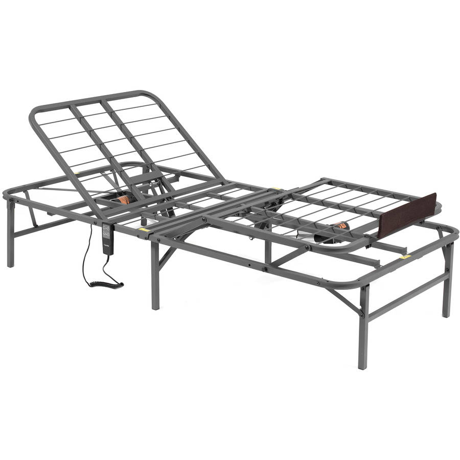 pragmatic 14 high profile dual adjustable steel bed frame with under bed storage easy no tools assembly multiple sizes walmartcom - Adjustable Bed Frames