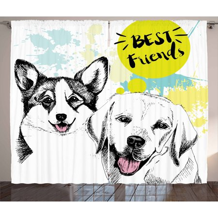 Labrador Curtains 2 Panels Set, Best Friends Typography with Hand Drawn Sketch Welsh Corgi Grunge Illustration, Window Drapes for Living Room Bedroom, 108W X 108L Inches, Multicolor, by