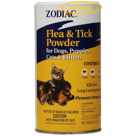 Zodiac Flea & Tick Powder for Dogs, Puppies, Cats & Kittens 5 oz - Pack of