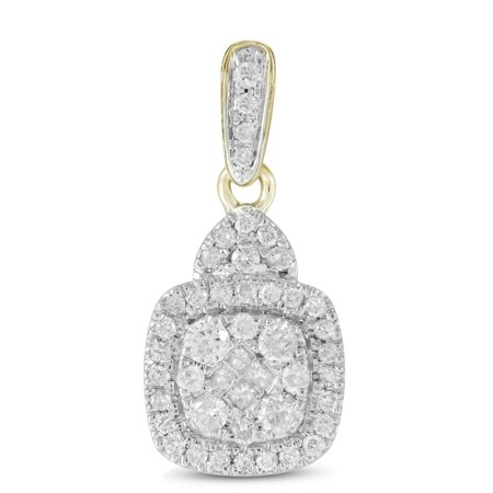 Solid 14k White and Yellow Two Toned Gold Princess Cut Round White Diamond Invisible & Prong Set Halo Square Pendant (.44 cttw)