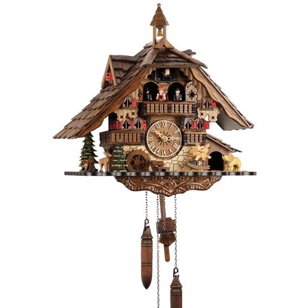 Cuckoo Clock 1 Day Chalet - Black Forest Chalet Style Musical 1 Day Cuckoo Clock with Bell Tower and Beer Drinker