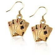 Whimsical Gifts 641G-ER Aces Charm Earrings, Gold