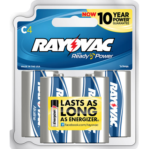 Rayovac Alkaline C Batteries, 4-pack