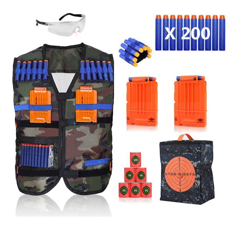 WALFRONT Kids Tactical Vest Kit with 200/1000 Refill Darts for Nerf Guns N-Strike Elite Series,2 Reload Clips,1 Hand Wrist Band and Protective Glasses,6 EVA Bullet Targets,1 Target Pouch