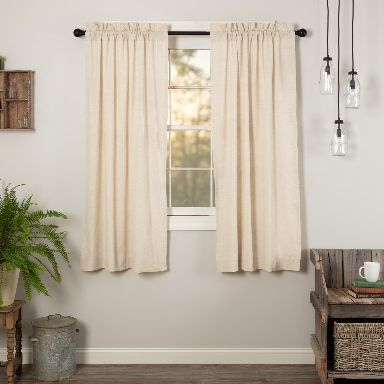 Natural Creme White Farmhouse Curtains Simplicity Flax Rod