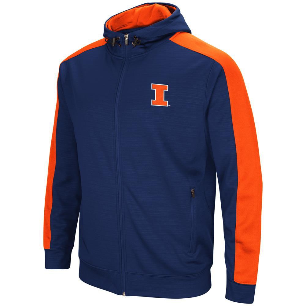 University of Illinois Performance Fleece Jacket Full Zip Hoodie by Colosseum