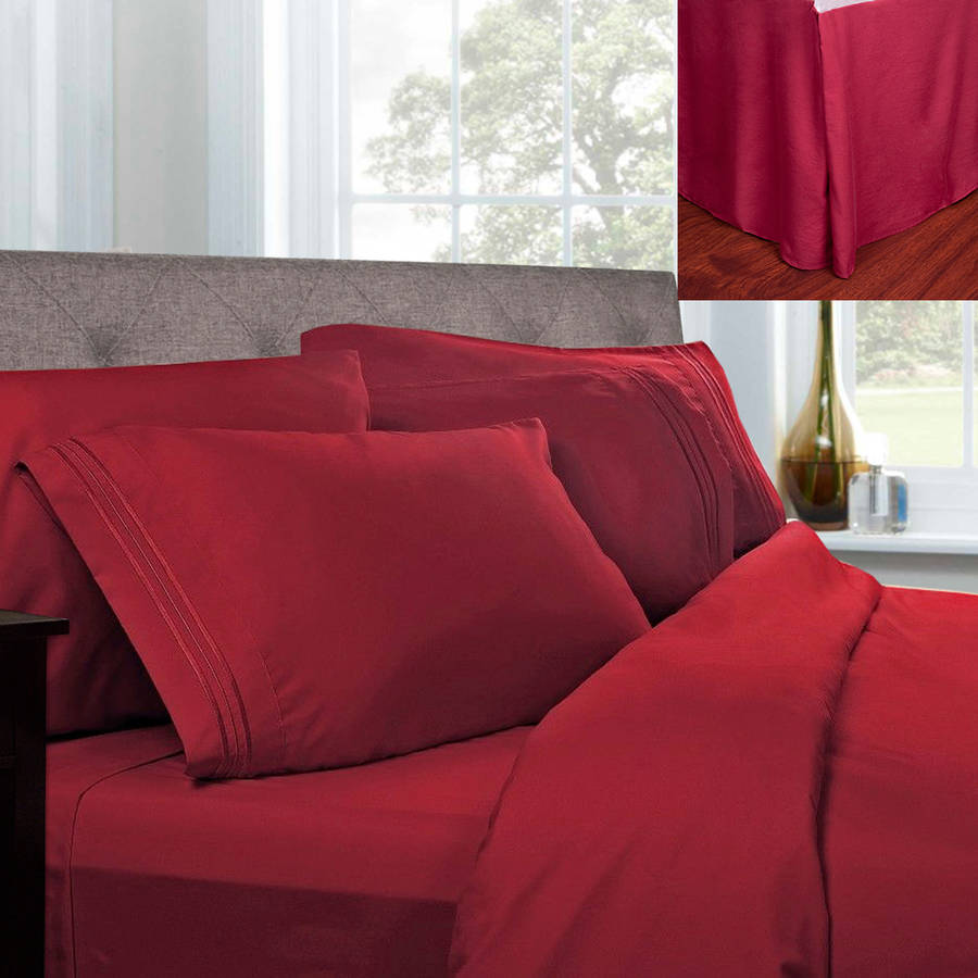 1500 Series Egyptian Quality Microfiber Sheets and Pleated Bed Skirt Set