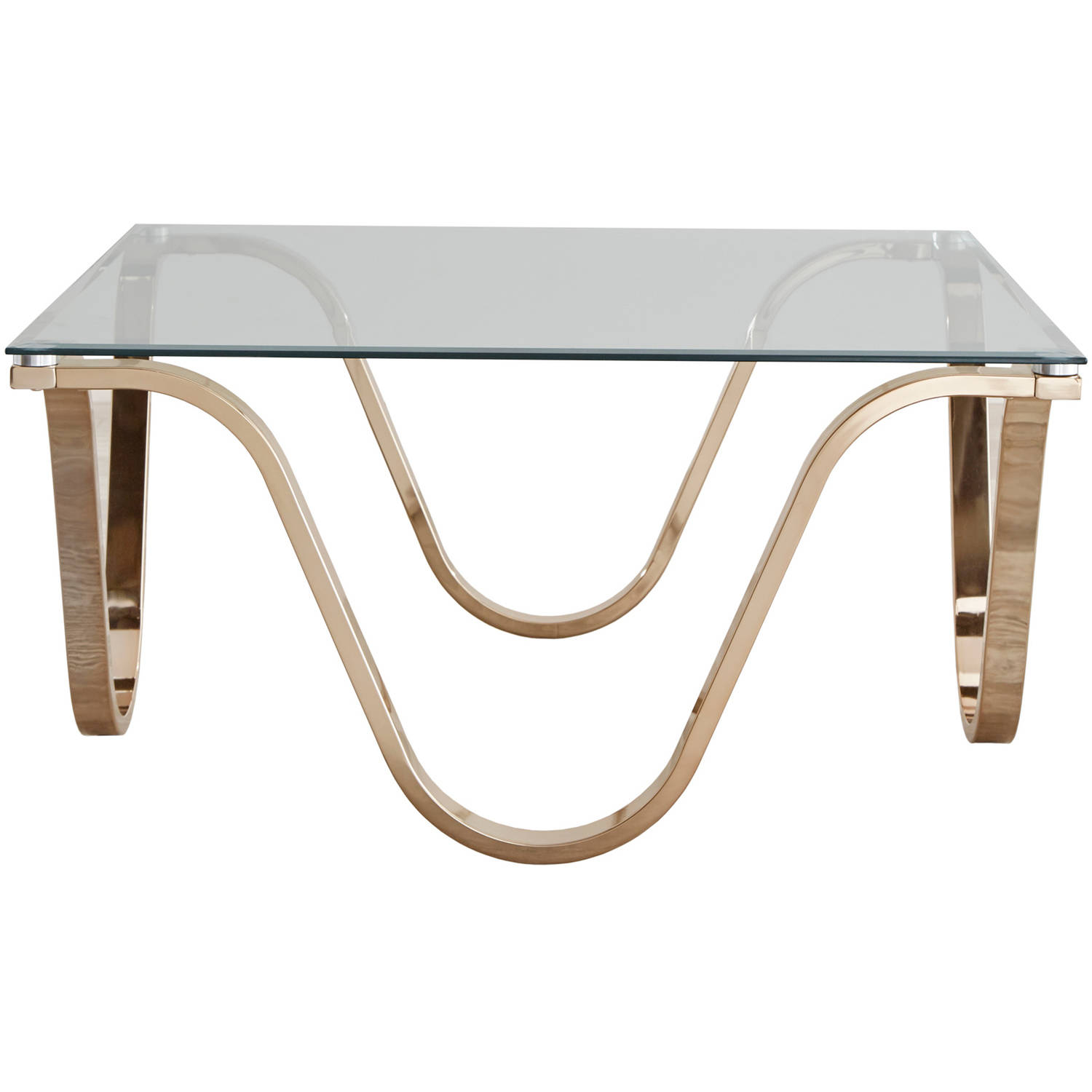 Chelsea Lane Narvel Wave Base Glass Top Cocktail Table by