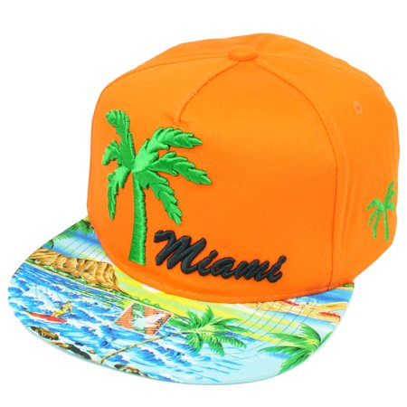 Miami Florida Sunshine State Palm Trees Orange Beach Snapback Flat Bill Hat Cap - Palm Tree Hat