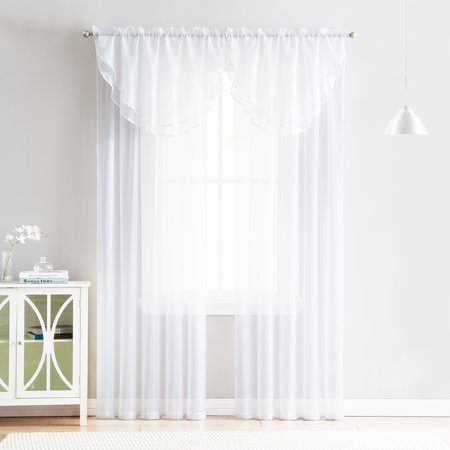 4 Piece Sheer Window Curtain Set for Living Room, Dining Room, Bay Windows: 2 Voile Valance Curtains and 2 Panels 84 in Long (White) ()