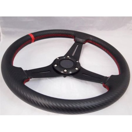 Three Spoke Custom Wheel (H-A-Motorsports 131535566808 Yamaha G1-G19 & Polaris Rhino custom steering wheel golf cart W/ Adapter 3)