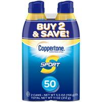 Coppertone Sport Sunscreen Spray SPF 50, Twin Pack (5.5 oz each)