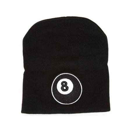 Magic 8 Ball Patched Black Cuffless Knit Beanie (Adult Magic 8 Ball)