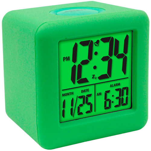 Equity Cube LCD Alarm Clock, Green