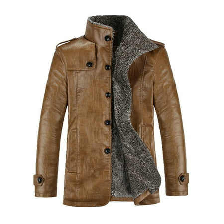 Men's Plus Size Winter PU Leather Warm Buttons Thicken Trench Overcoat Jacket 3 Button Black Stripe Jacket