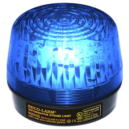 Seco-Larm Enforcer LED Strobe Light with Built-In Programmable Siren, Blue