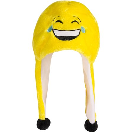 Adults Laughing To Tears Emoticon Emoji Winter Toque Hat Costume Accessory](Laughing With Tears Emoji)