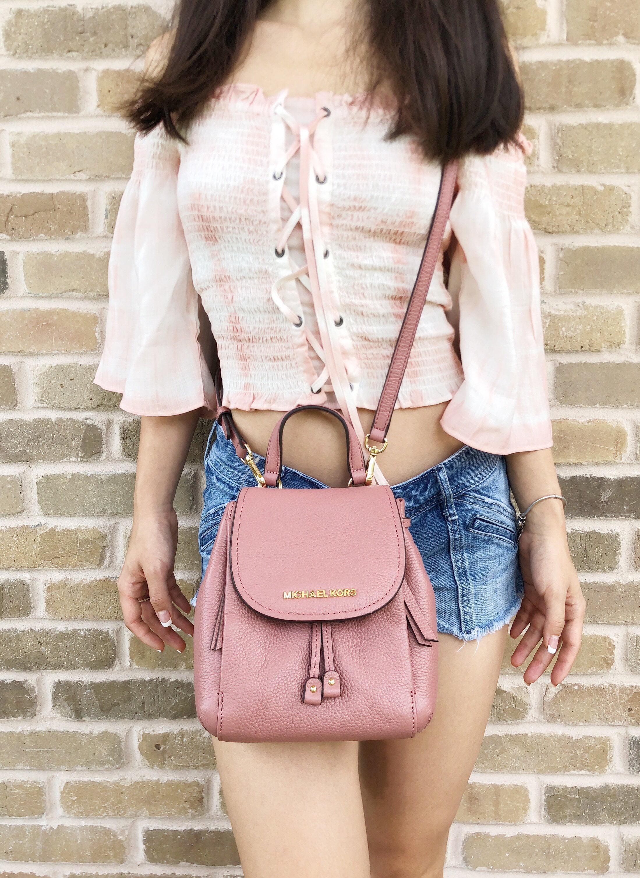 da58b7950eb07 Michael Kors - Michael Kors Mini Riley Small Crossbody Rose Pink Drawstring  Backpack Style - Walmart.com