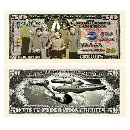 """100 Limited Edition Star Trek 50th Anniversary Collectible Bills with Bonus """"Thanks a Million"""" Gift Card - Star Trek Collectible Plates"""