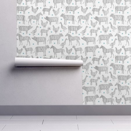 Peel and Stick Removable Wallpaper Barnyard Animals Farm Pig Horse Cow