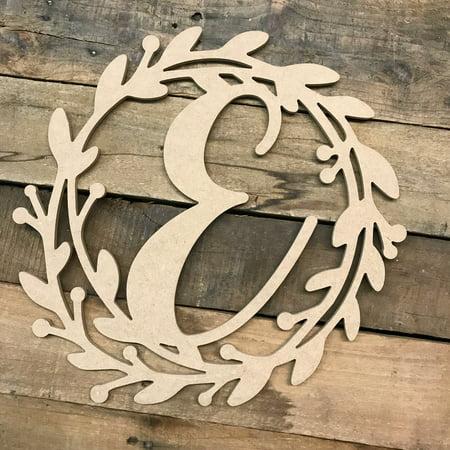 Wooden Cursive Wreath Frame Monogram 12'' E, Wood Letter Cutout ()