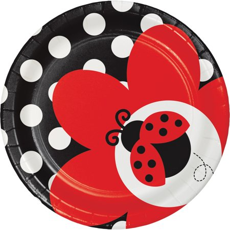 Fancy Paper Plates (Club Pack of 96 Ladybug Fancy Premium Disposable Paper Party Lunch Plates)