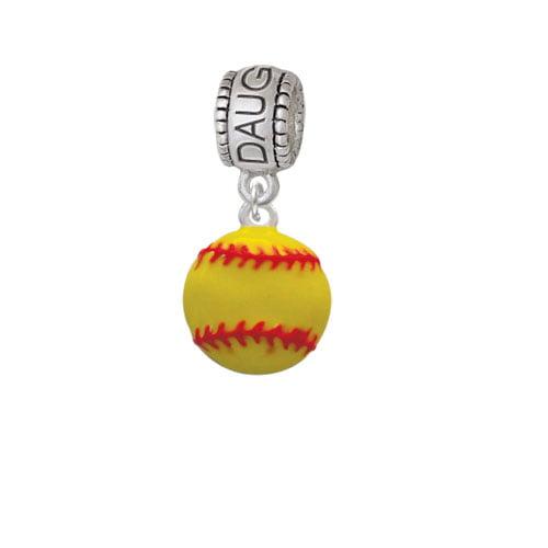 Large Optic Yellow Softball - Daughter Charm Bead
