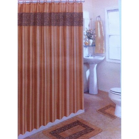 4 Piece Bath Rug Set Brown Leopard Bathroom Rugs With Fabric Shower Curtain And Matching Mat Rings