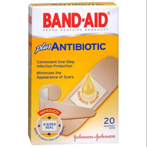 BAND-AID Plus Antibiotic Bandages Assorted Sizes 20 Each (Pack of 6)