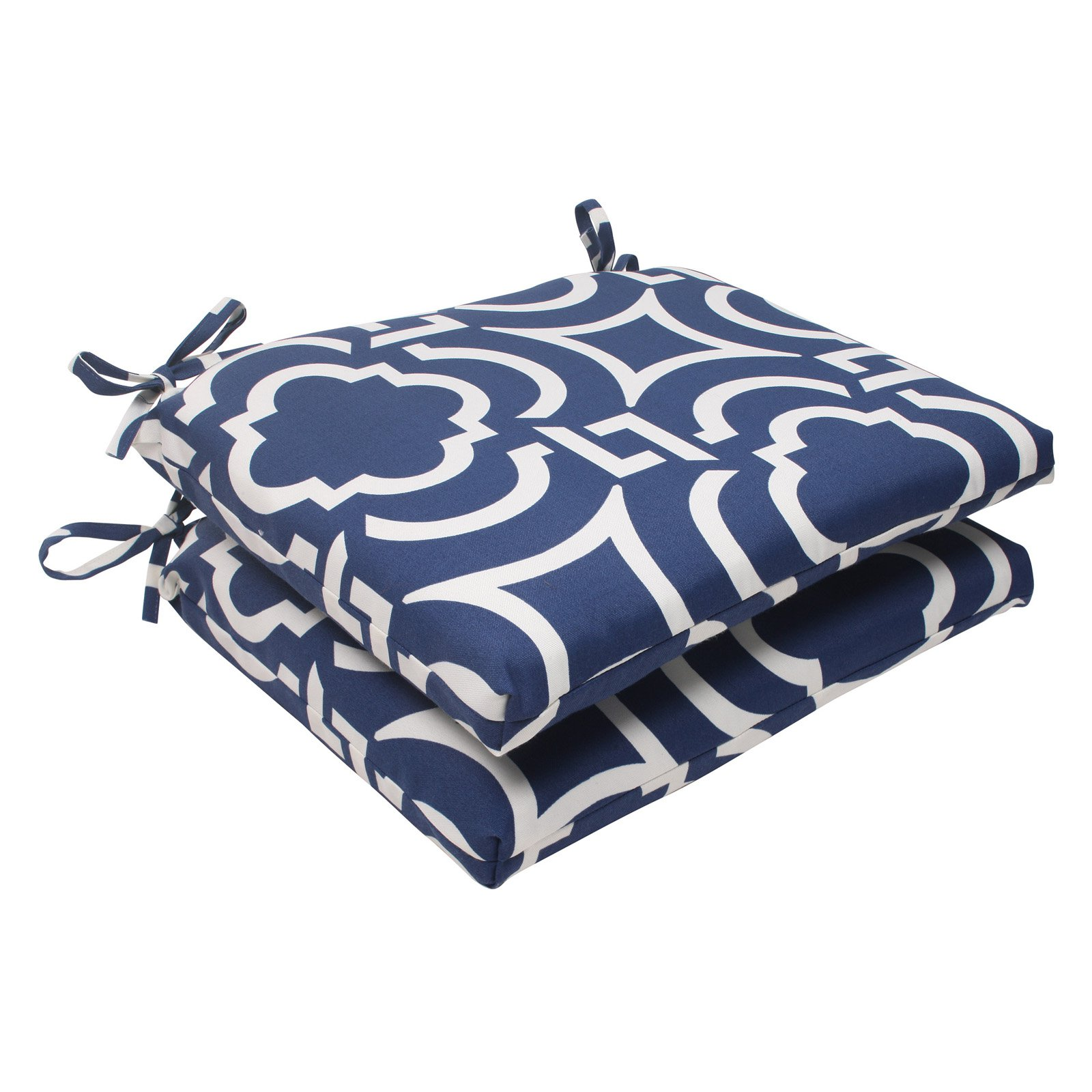 Pillow Perfect Outdoor/ Indoor Carmody Navy Squared Corners Seat Cushion (Set of 2)