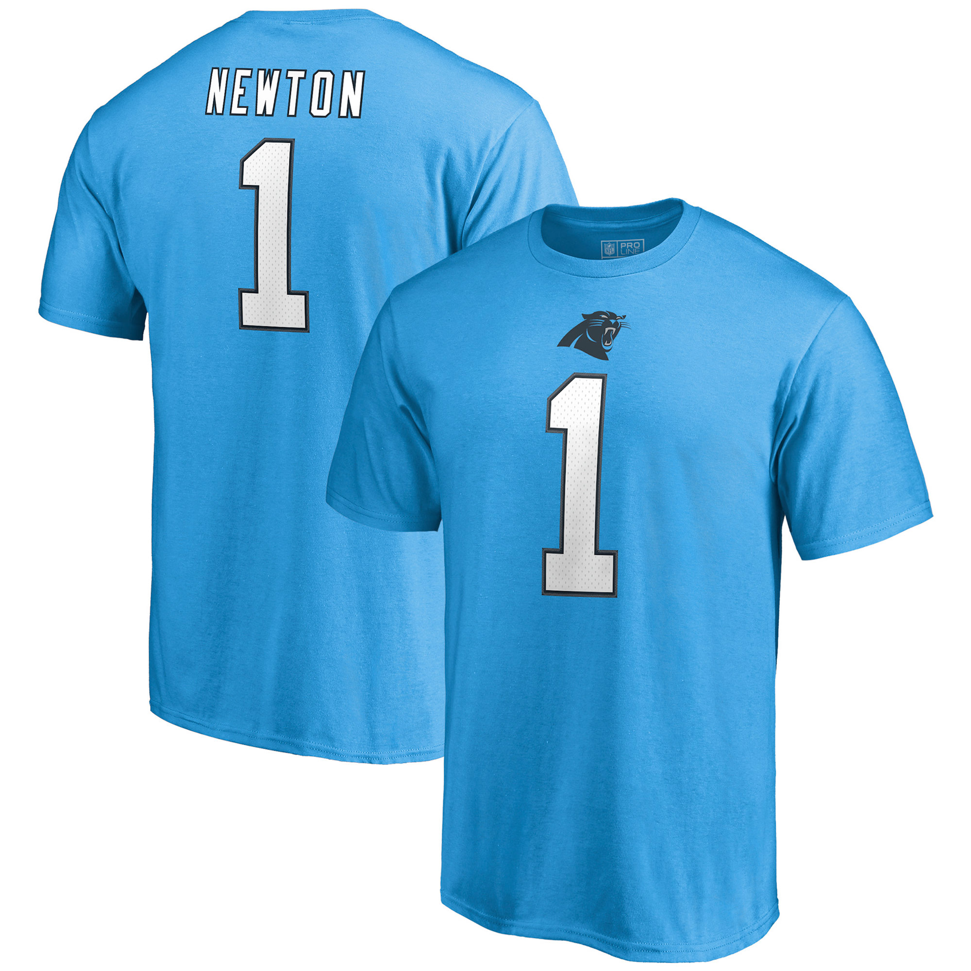 Cam Newton Carolina Panthers NFL Pro Line by Fanatics Branded Authentic Stack Name & Number T-Shirt - Blue