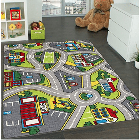 Learning Carpets City Life Play Carpet 5' x 7' New Kids Rugs Great for Playing with Cars & Toys - Play Safe (Street map # 4) & Have Fun -Ideal Gift for ...