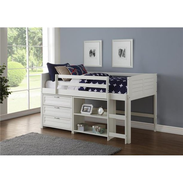 Donco Kids PD-795AW-Modular-C3 Twin Louver Low Loft in White with 3 Drawer Chest & Small Bookcase