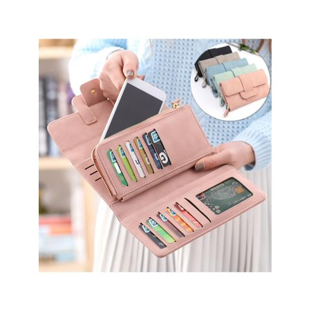 Fashion Soft Retro Leather Trifold Button Clutch Bag Card Holder Phone Women Wallet for under 5inch Cellphone