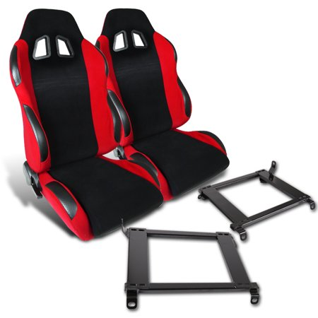 - Spec-D Tuning For 1992-1995 Honda Civic 1994-2001 Acura Integra Red Cloth Pvc Leather Racing Seats + Brackets Pair (Left + Right) 92 93 94 95