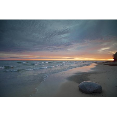 Michigan. Solitary Boulder on a Beach of Lake Superior, Pictured Rocks National Lakeshore Print Wall Art By Judith Zimmerman