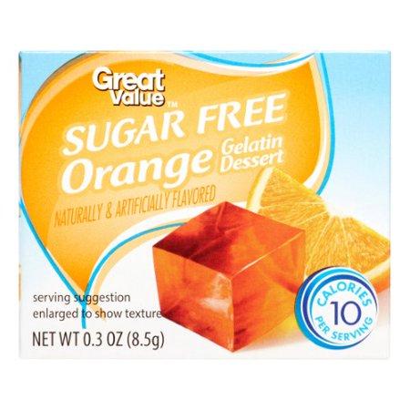 (3 Pack) Great Value Gelatin Dessert, Sugar Free, Orange, 0.3