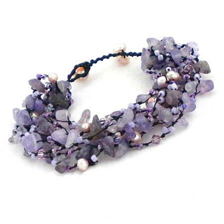 Cluster Amethyst- Pearls- Crystal Handmade Bracelet