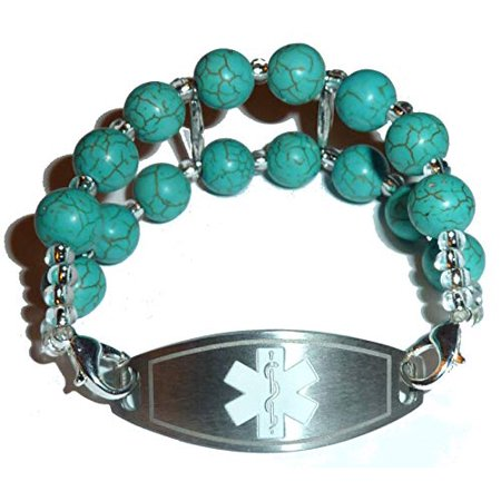 Turquoise Beaded Medical Alert Bracelet Replacement by Hidden Hollow -