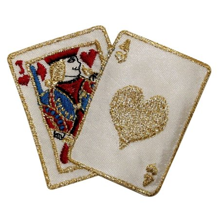Vintage Iron Poker - ID 0069 Black Jack Hearts Casino Poker Hand Embroidered Iron On Applique Patch