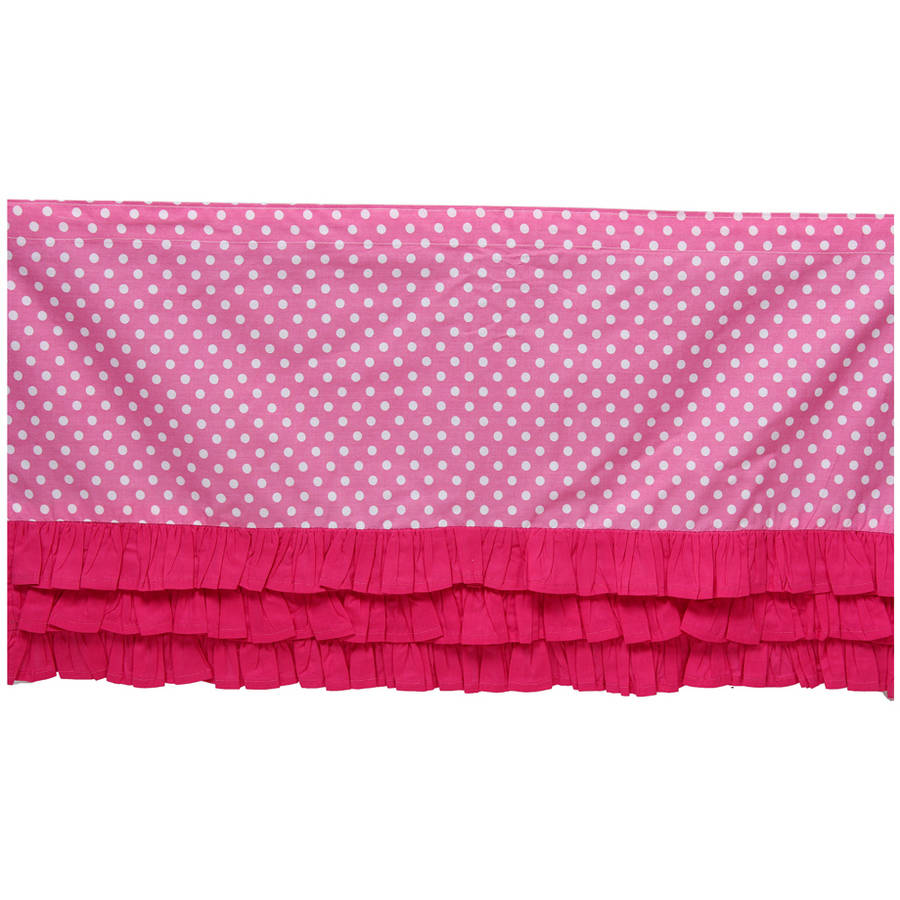 Bacati MixNMatch Frills on bottom with 100% Cotton Percale 13 inch drop Crib Toddler Dust Ruffle, Pink by Bacati