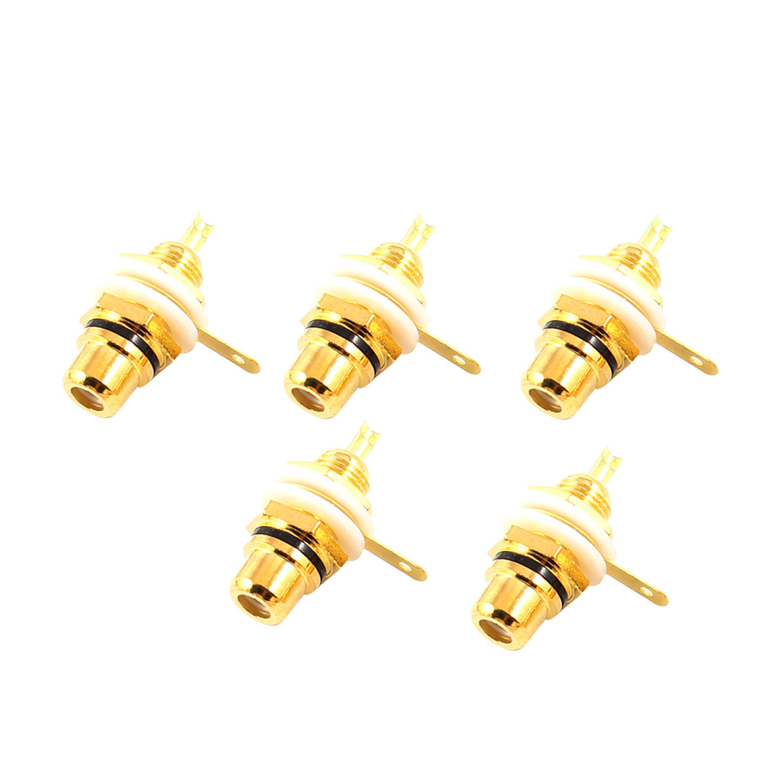 5 Pcs RCA Phono Chassis Panel Mount RCA Female Cable Connector Socket Gold Tone