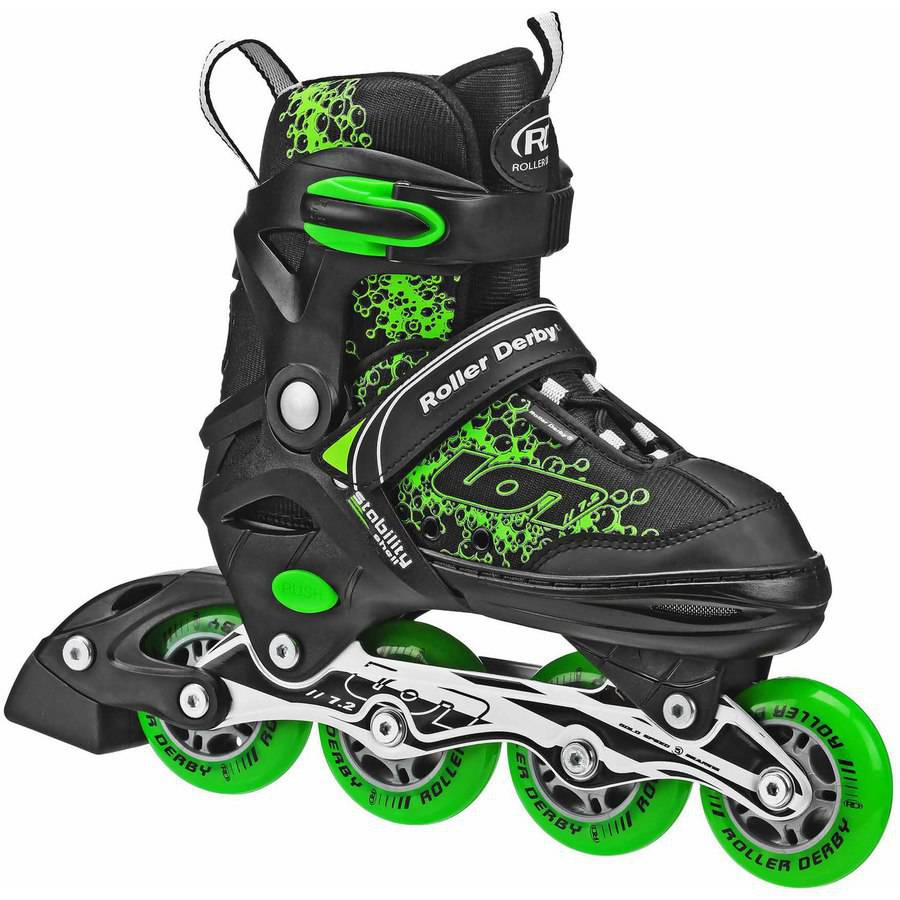 Ion 7.2 Boys' Adjustable Inline Skates, Black Green by Roller Derby Skate Corp.