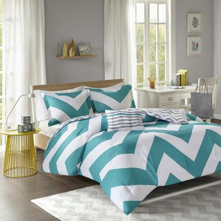 Leo 4 Piece Comforter Set - Blue/White (Full/Queen)